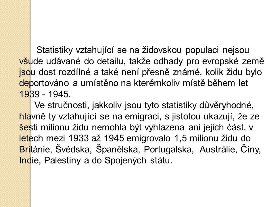 Statistiky vztahující se na židovskou populaci nejsou všude udávané do detailu, takže odhady pro evropské země jsou dost rozdílné a také není přesně známé, kolik židu bylo deportováno a umístěno na kterémkoliv místě během let 1939 - 1945.