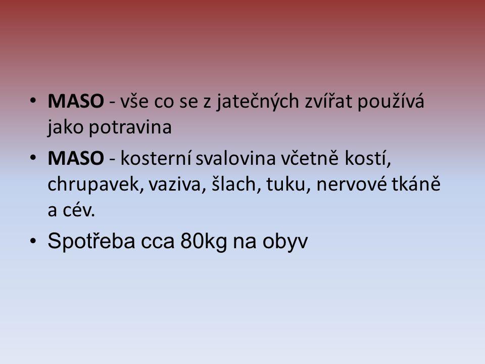 MASO - vše co se z jatečných zvířat používá jako potravina