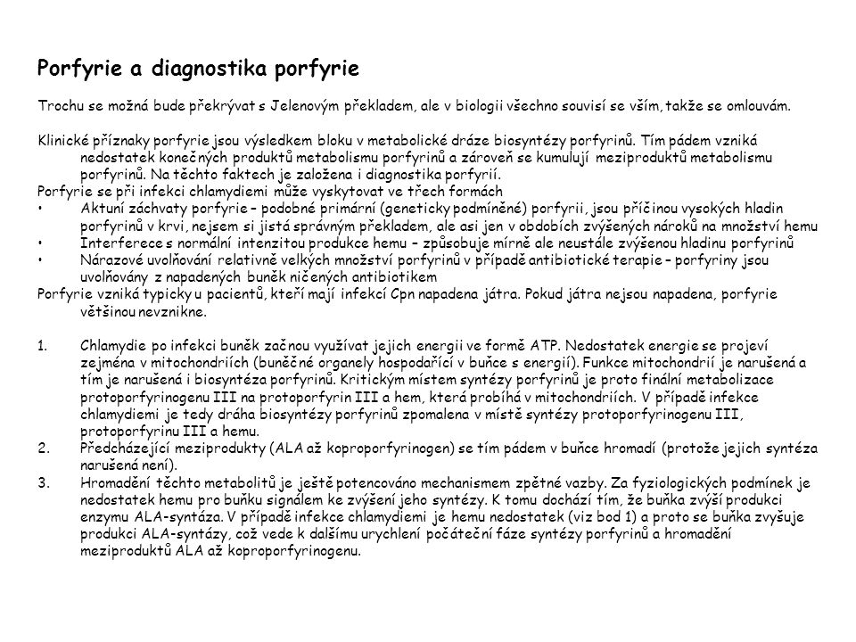 Porfyrie a diagnostika porfyrie