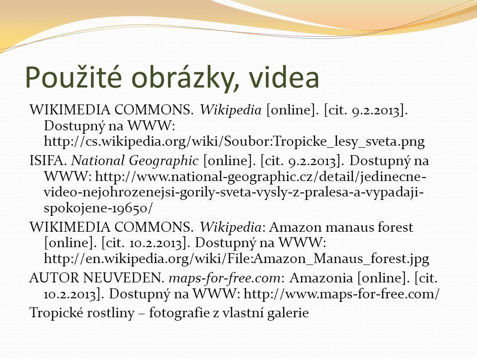 Použité obrázky, videa