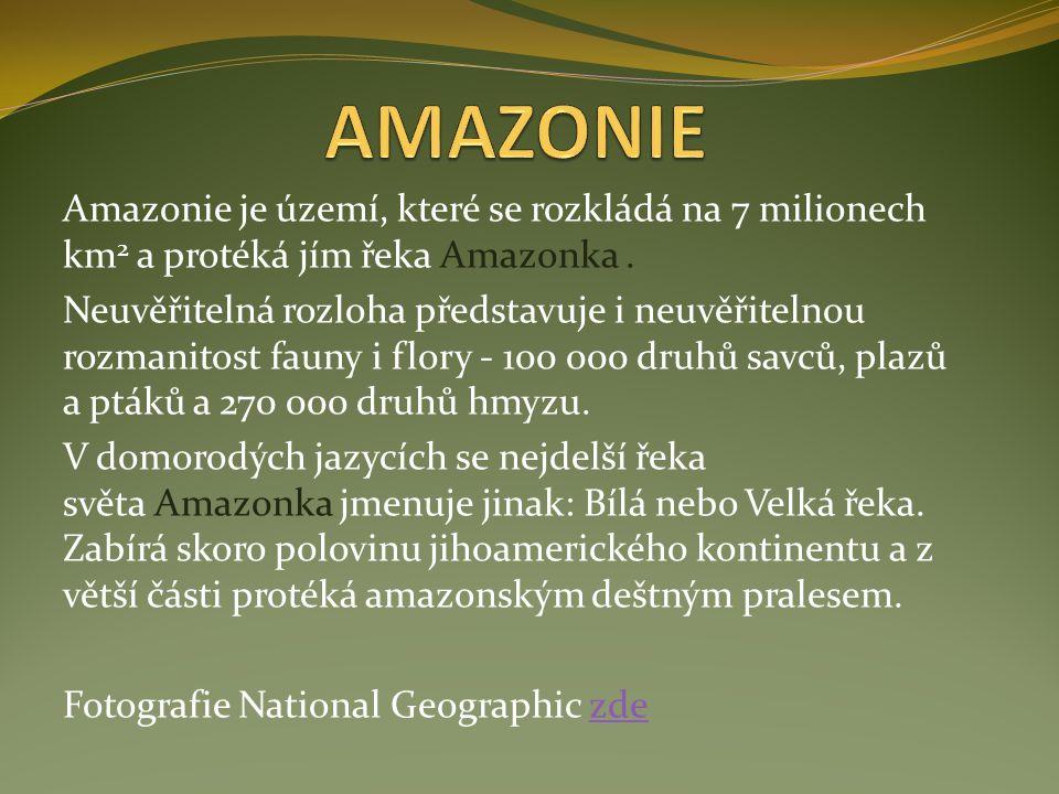 AMAZONIE Amazonie je území, které se rozkládá na 7 milionech km2 a protéká jím řeka Amazonka .