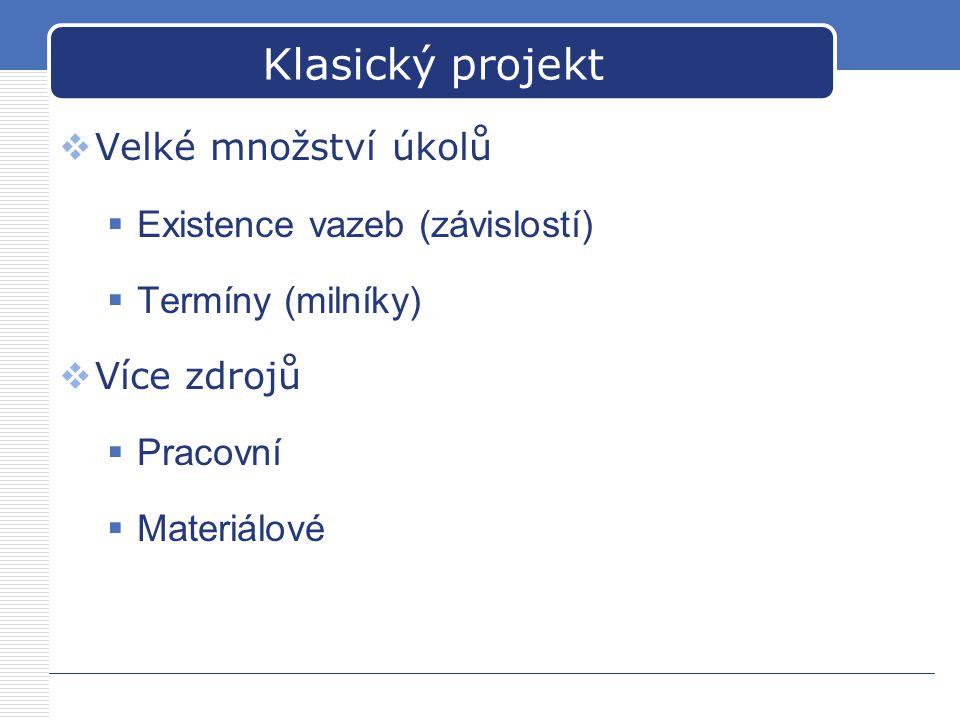 Klasický projekt Velké množství úkolů Existence vazeb (závislostí)