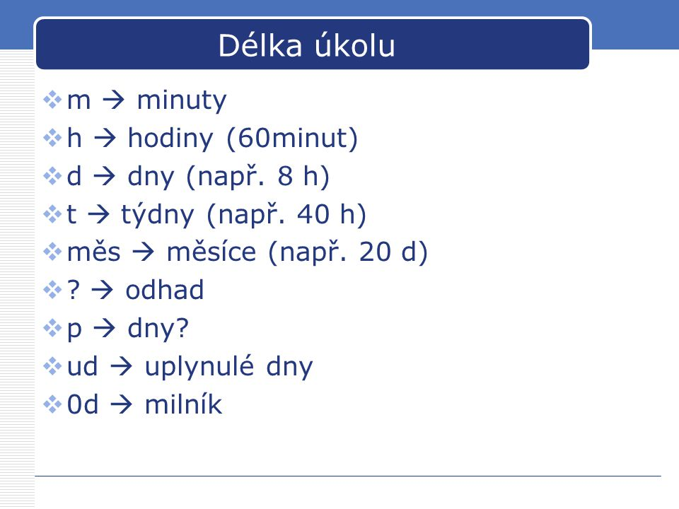Délka úkolu m  minuty h  hodiny (60minut) d  dny (např. 8 h)