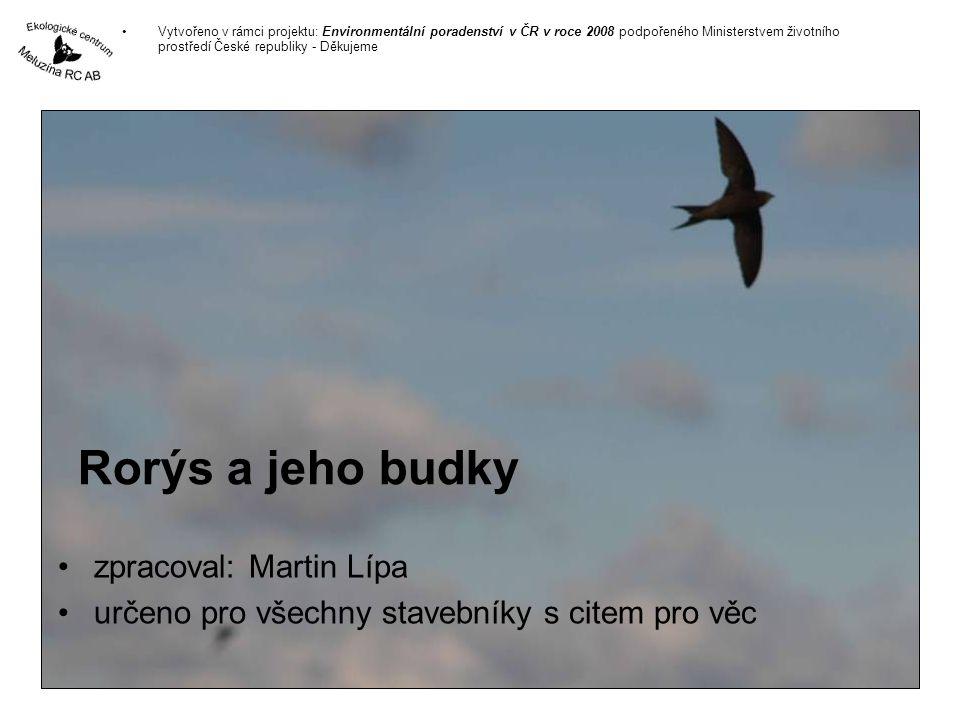 Rorýs a jeho budky zpracoval: Martin Lípa