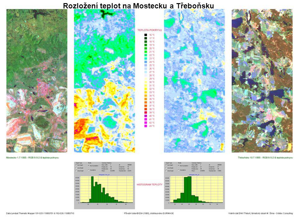 Rozložení teplot na Mostecku a Třeboňsku