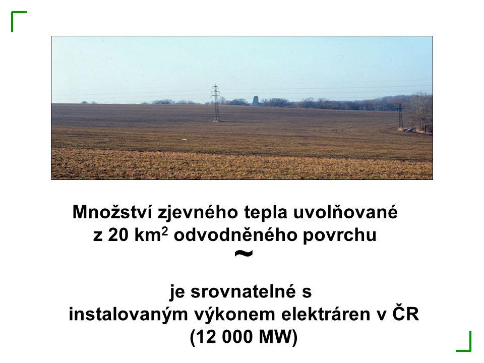 ~ Množství zjevného tepla uvolňované z 20 km2 odvodněného povrchu
