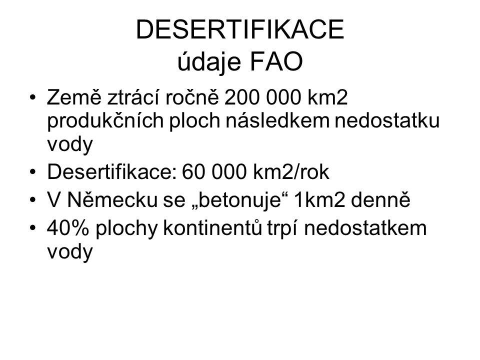 DESERTIFIKACE údaje FAO