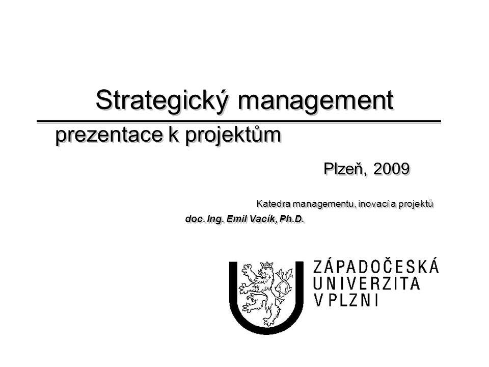 Strategický management prezentace k projektům. Plzeň, 2009