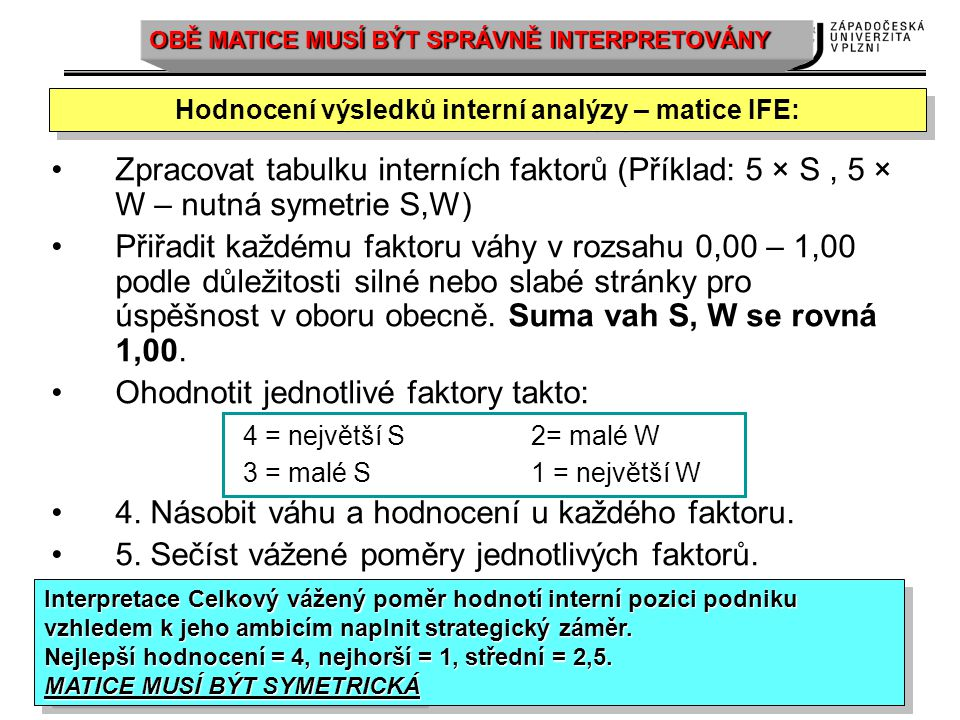 Hodnocení výsledků interní analýzy – matice IFE: