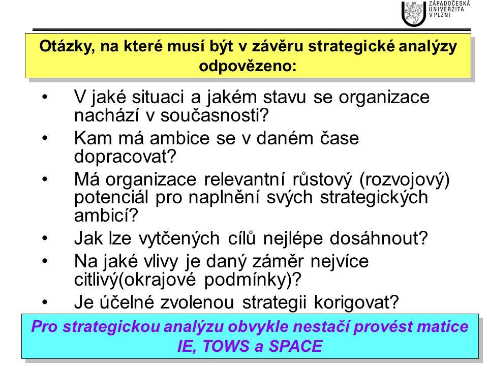 Otázky, na které musí být v závěru strategické analýzy odpovězeno: