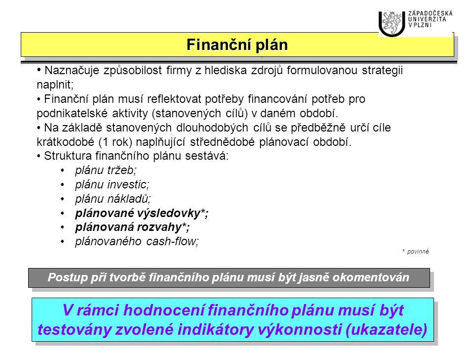 Postup při tvorbě finančního plánu musí být jasně okomentován
