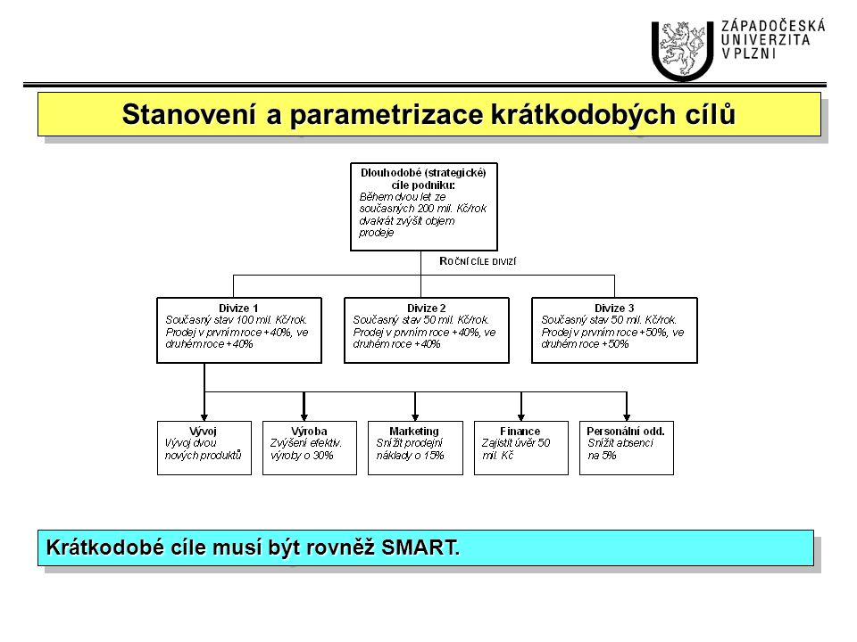 Stanovení a parametrizace krátkodobých cílů
