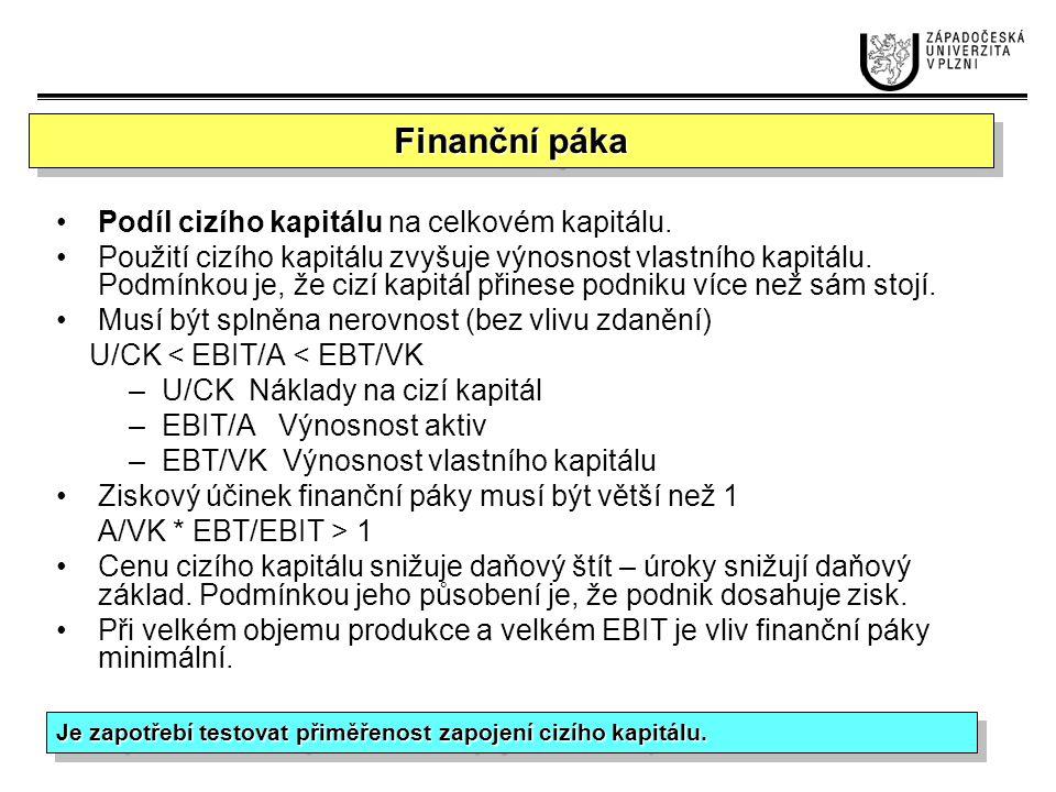 Finanční páka Podíl cizího kapitálu na celkovém kapitálu.