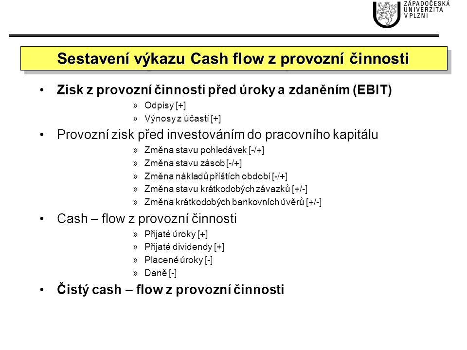 Sestavení výkazu Cash flow z provozní činnosti