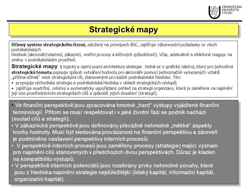 Strategické mapy Účinný systém strategického řízení, založený na principech BSC, zajišťuje výkonnostní požadavky ze všech podnikatelských.