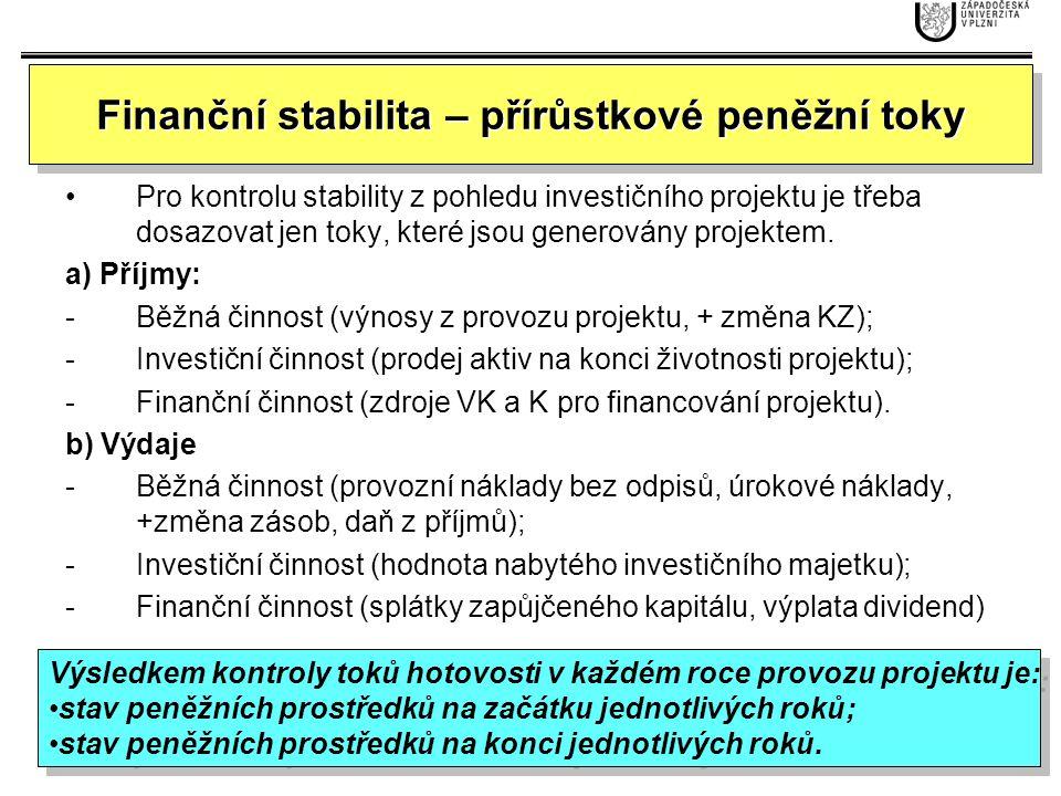 Finanční stabilita – přírůstkové peněžní toky