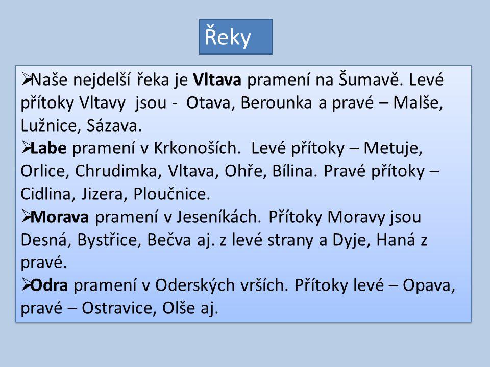 Řeky Naše nejdelší řeka je Vltava pramení na Šumavě. Levé přítoky Vltavy jsou - Otava, Berounka a pravé – Malše, Lužnice, Sázava.