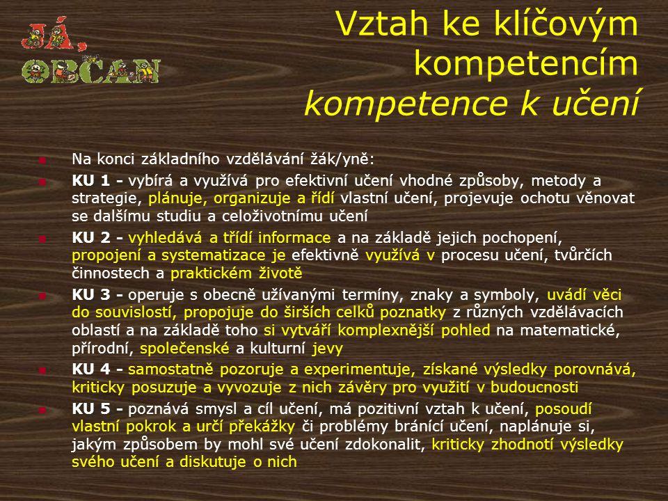 Vztah ke klíčovým kompetencím kompetence k učení