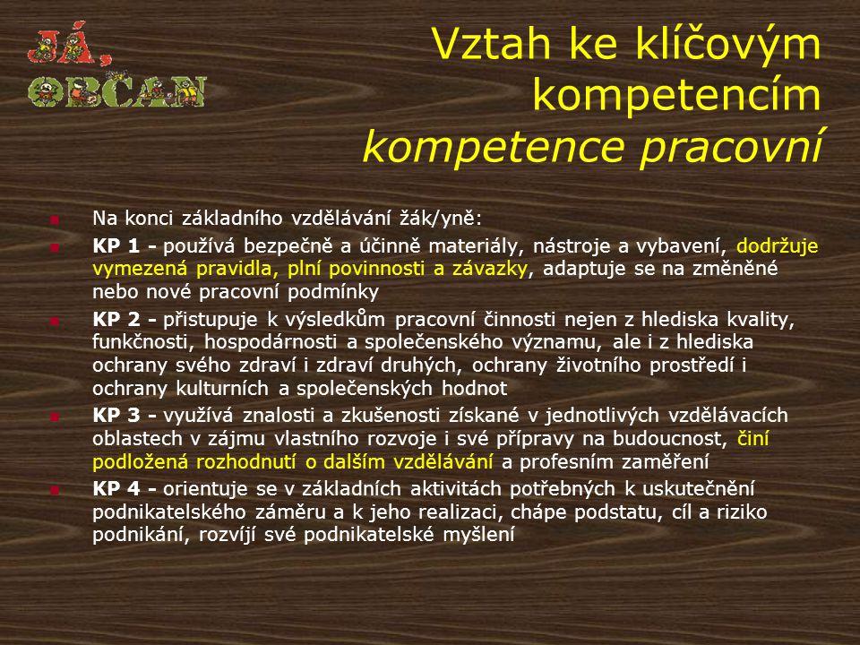 Vztah ke klíčovým kompetencím kompetence pracovní
