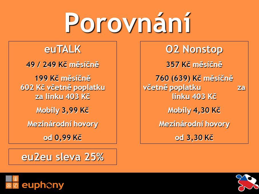 Porovnání euTALK O2 Nonstop eu2eu sleva 25% 49 / 249 Kč měsíčně