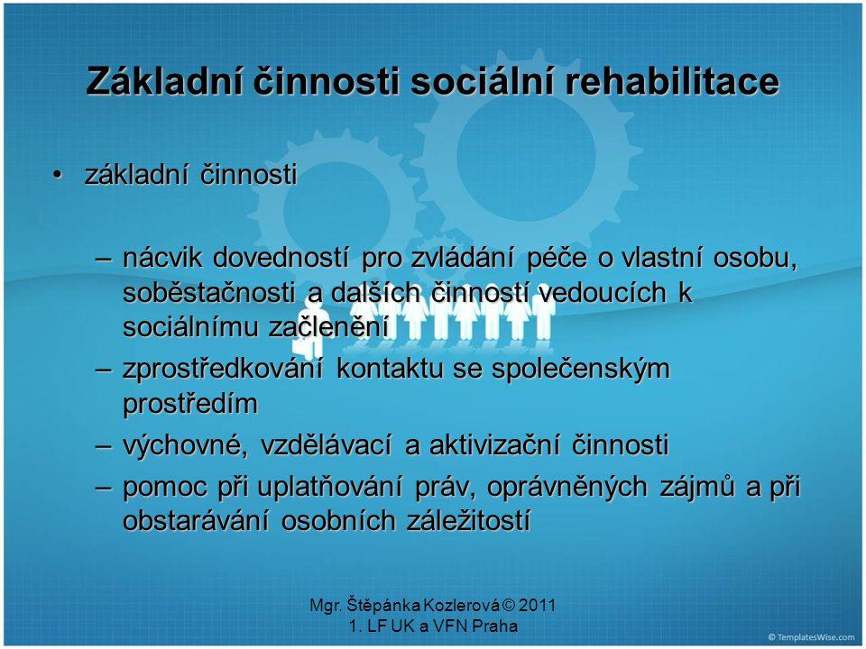 Základní činnosti sociální rehabilitace