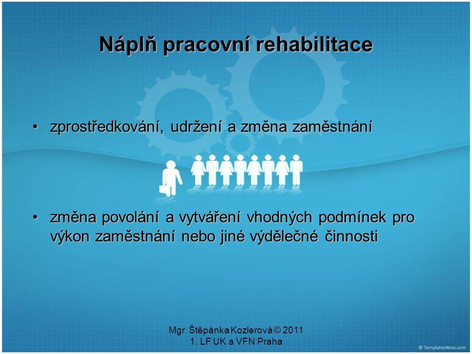 Náplň pracovní rehabilitace