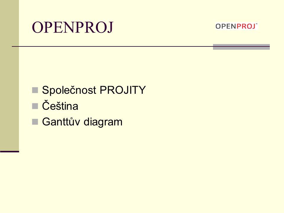 OPENPROJ Společnost PROJITY Čeština Ganttův diagram