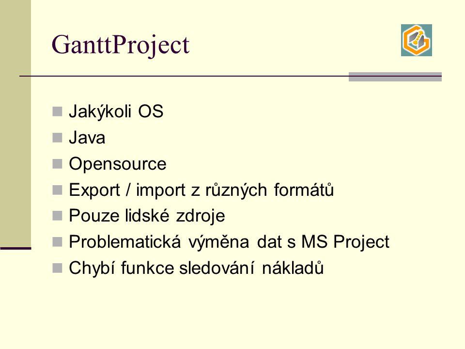 GanttProject Jakýkoli OS Java Opensource