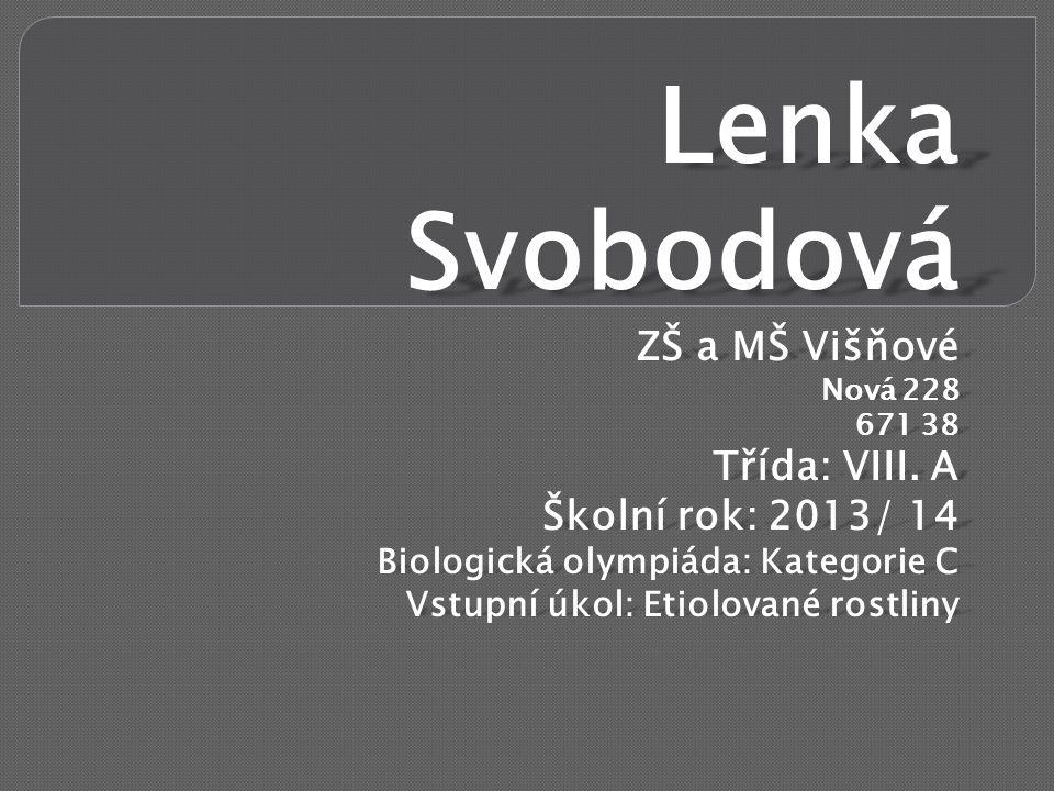 Lenka Svobodová ZŠ a MŠ Višňové Nová 228 671 38 Třída: VIII