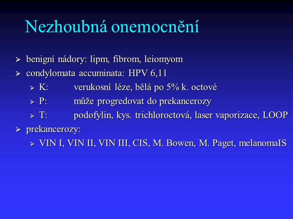 Nezhoubná onemocnění benigní nádory: lipm, fibrom, leiomyom