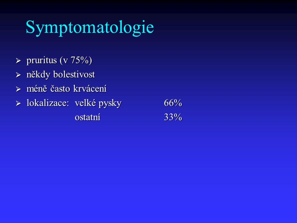 Symptomatologie pruritus (v 75%) někdy bolestivost méně často krvácení