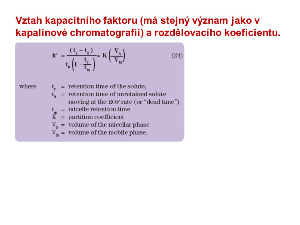 Vztah kapacitního faktoru (má stejný význam jako v kapalinové chromatografii) a rozdělovacího koeficientu.