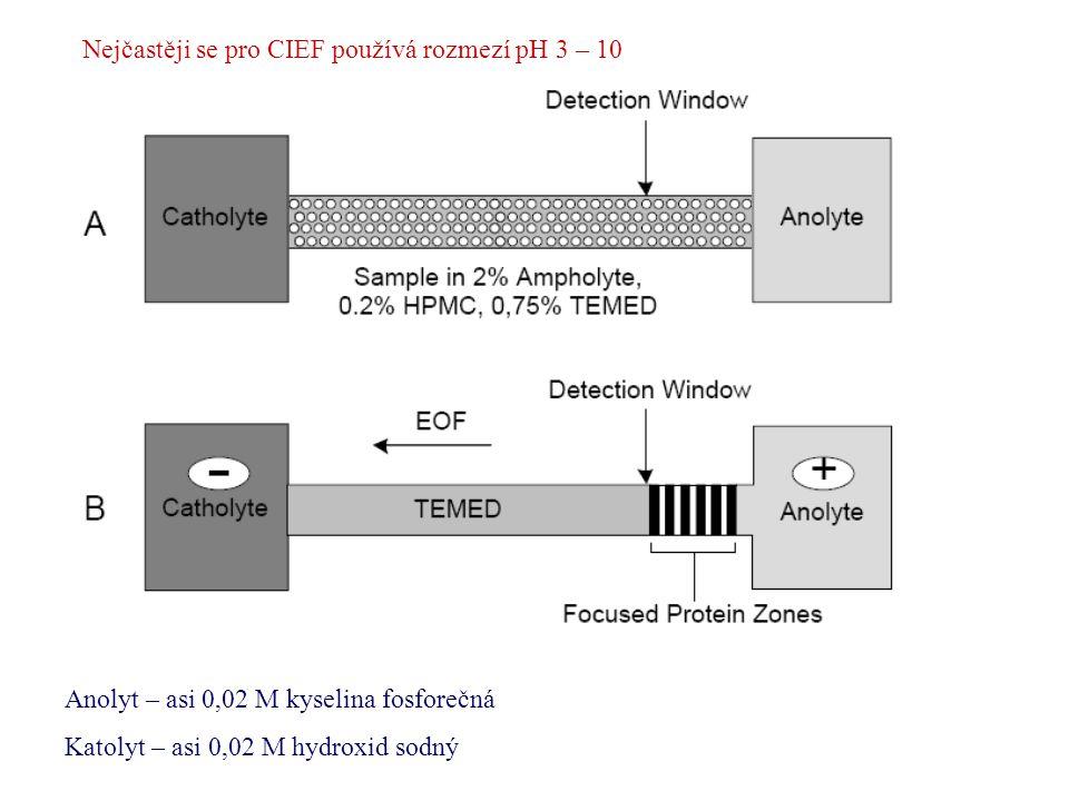 Nejčastěji se pro CIEF používá rozmezí pH 3 – 10