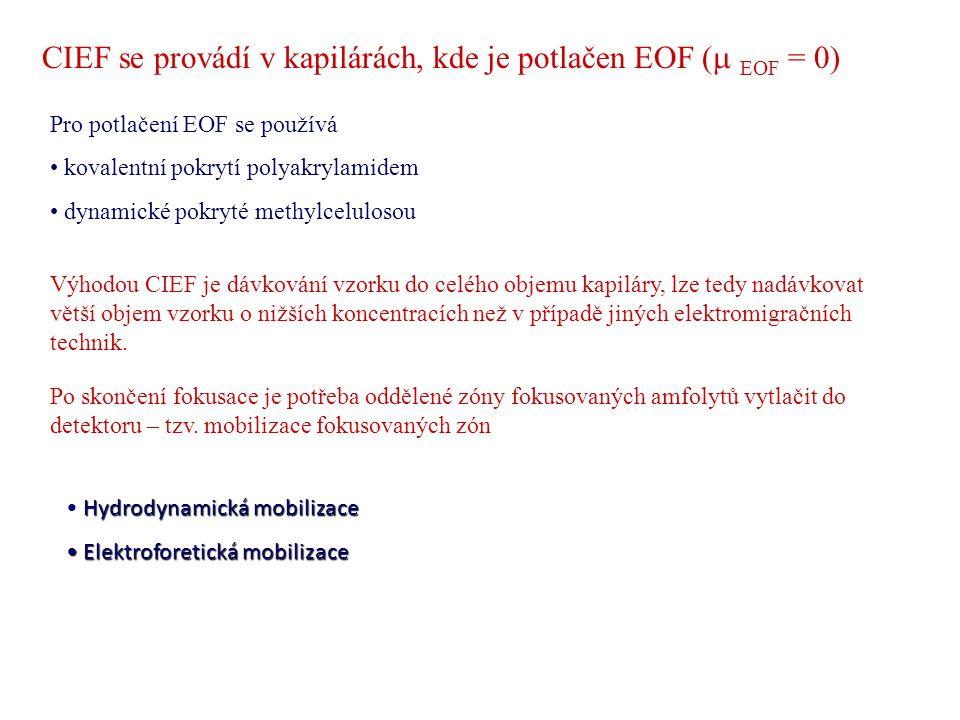 CIEF se provádí v kapilárách, kde je potlačen EOF (m EOF = 0)