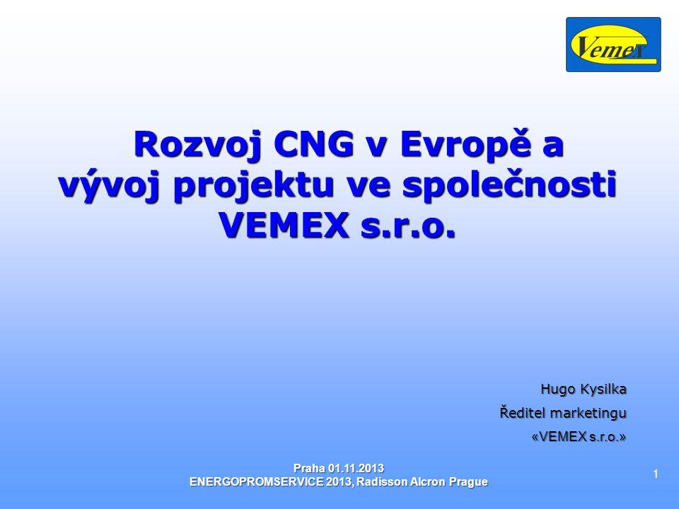 Rozvoj CNG v Evropě a vývoj projektu ve společnosti VEMEX s.r.o.