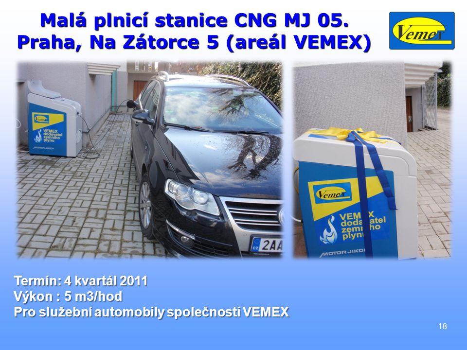 Malá plnicí stanice CNG MJ 05. Praha, Na Zátorce 5 (areál VEMEX)