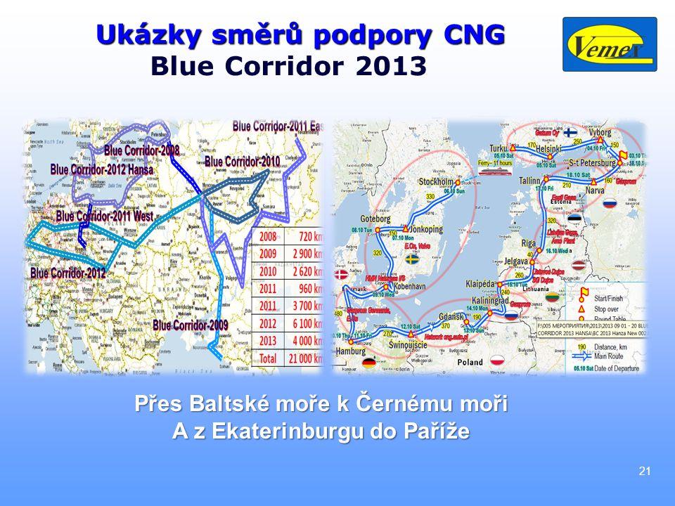 Ukázky směrů podpory CNG Blue Corridor 2013