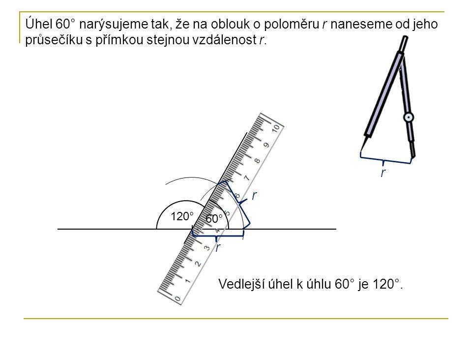 Vedlejší úhel k úhlu 60° je 120°.
