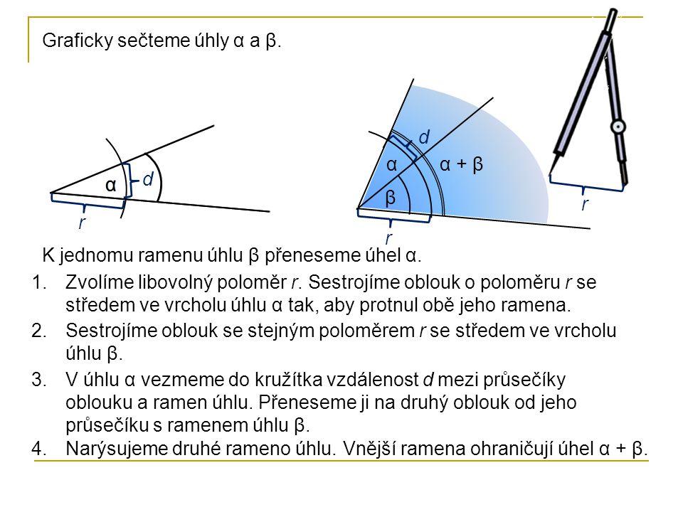 Graficky sečteme úhly α a β.