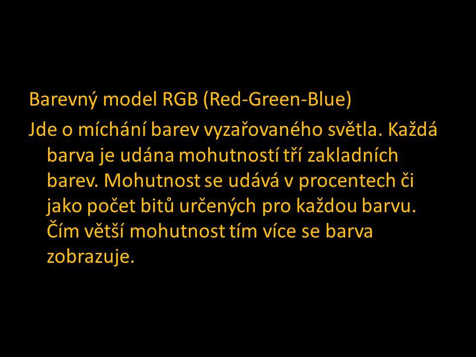 Barevný model RGB (Red-Green-Blue) Jde o míchání barev vyzařovaného světla.