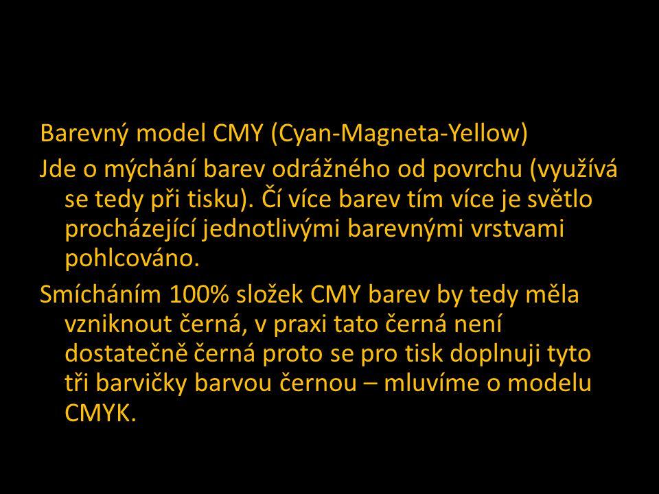 Barevný model CMY (Cyan-Magneta-Yellow) Jde o mýchání barev odrážného od povrchu (využívá se tedy při tisku).