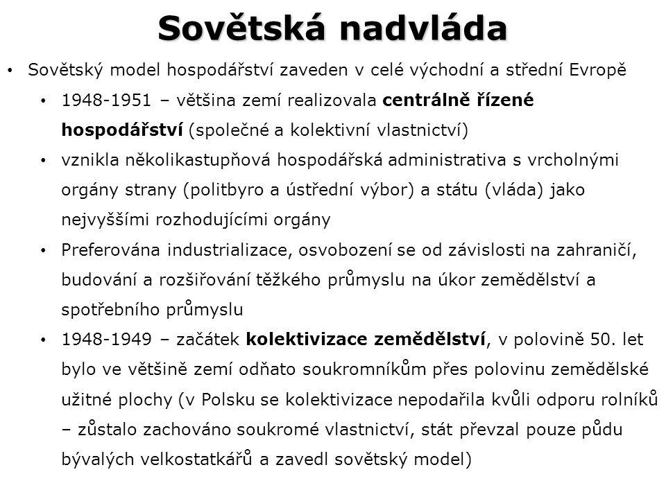Sovětská nadvláda Sovětský model hospodářství zaveden v celé východní a střední Evropě.