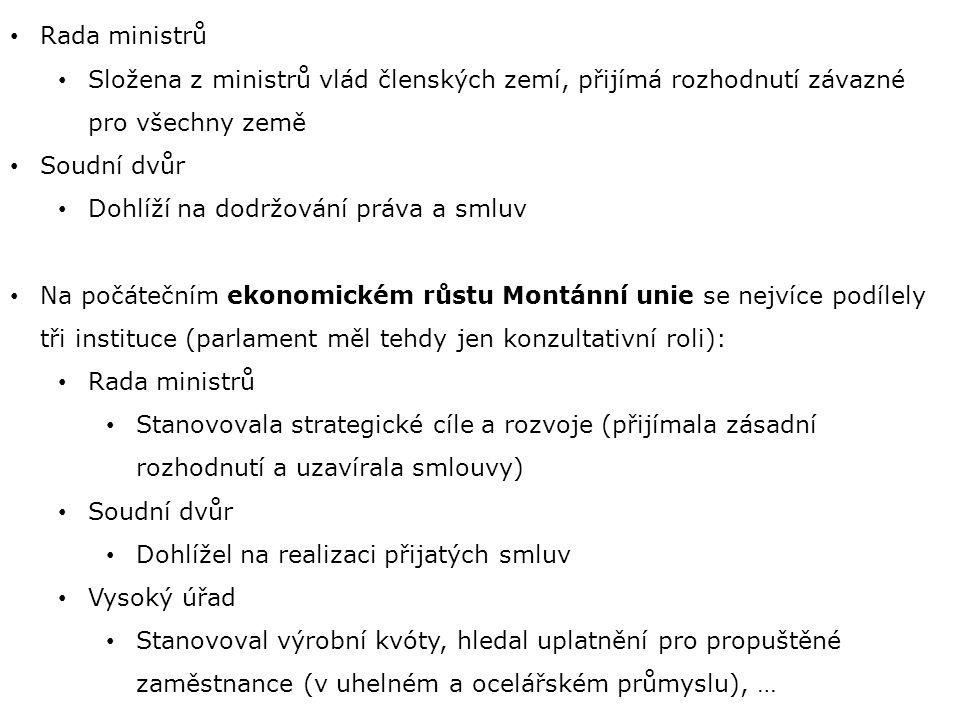 Rada ministrů Složena z ministrů vlád členských zemí, přijímá rozhodnutí závazné pro všechny země. Soudní dvůr.