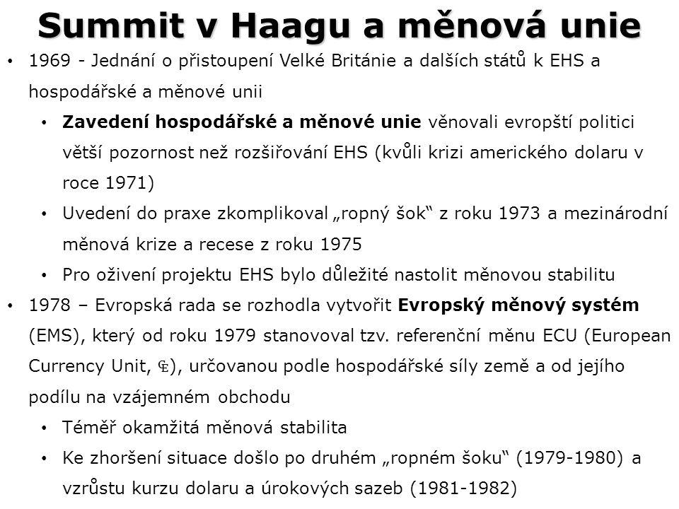 Summit v Haagu a měnová unie