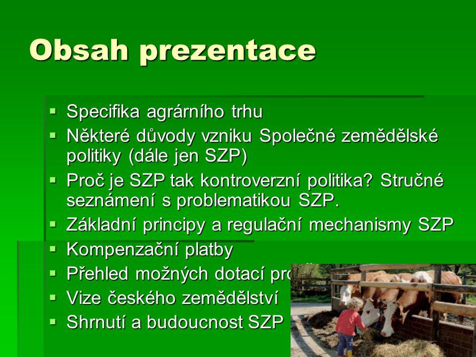 Obsah prezentace Specifika agrárního trhu