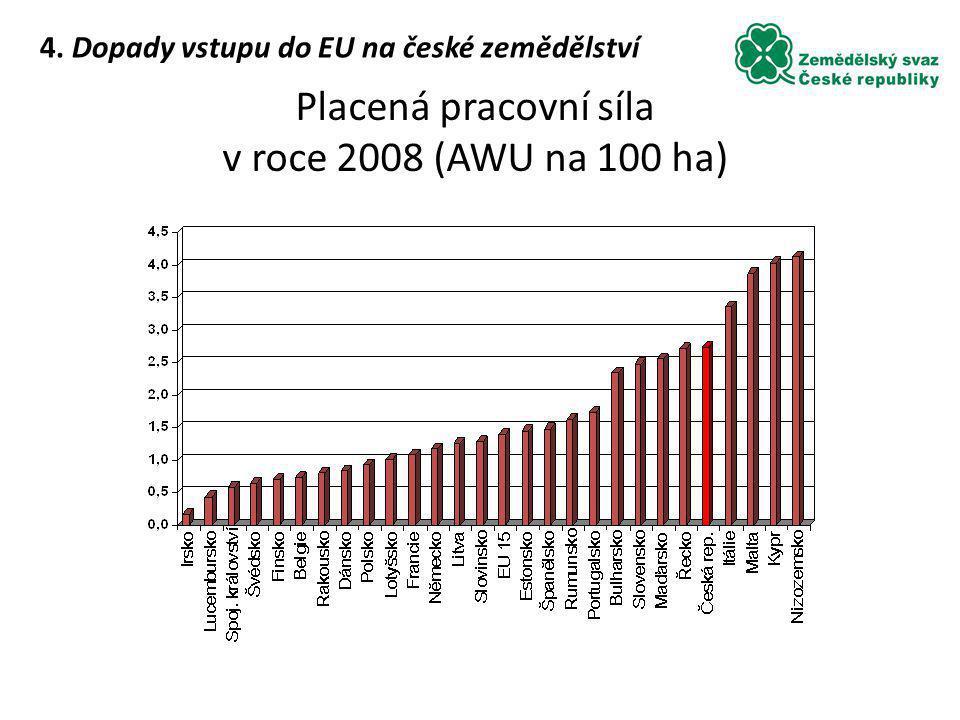 Placená pracovní síla v roce 2008 (AWU na 100 ha)
