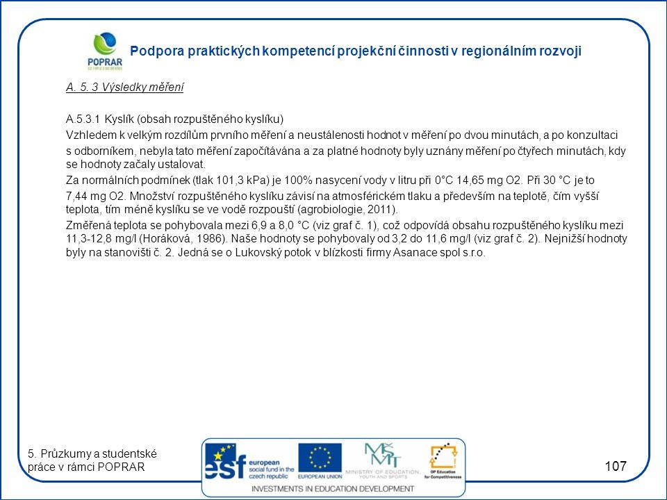 A. 5. 3 Výsledky měření A.5.3.1 Kyslík (obsah rozpuštěného kyslíku)