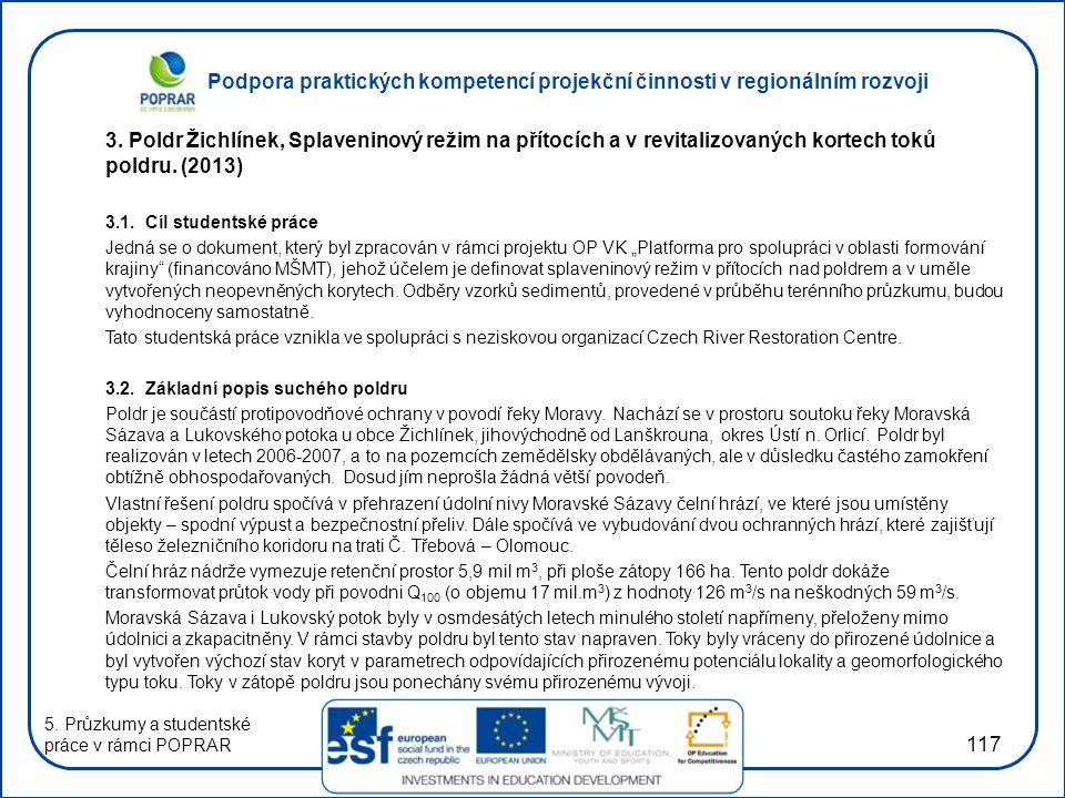3. Poldr Žichlínek, Splaveninový režim na přítocích a v revitalizovaných kortech toků poldru. (2013)