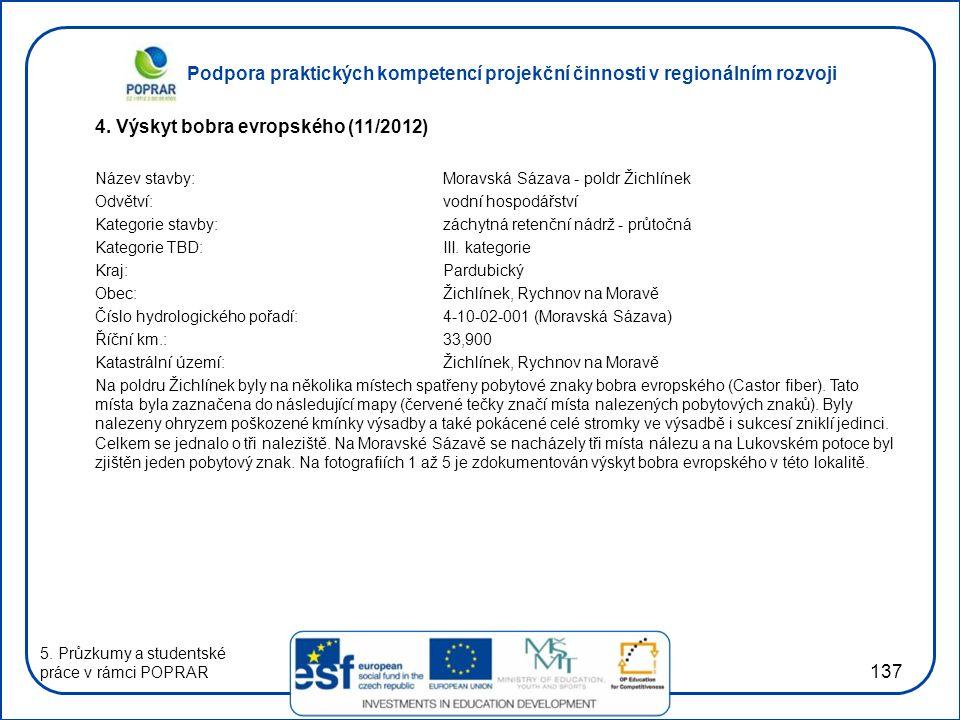 4. Výskyt bobra evropského (11/2012)