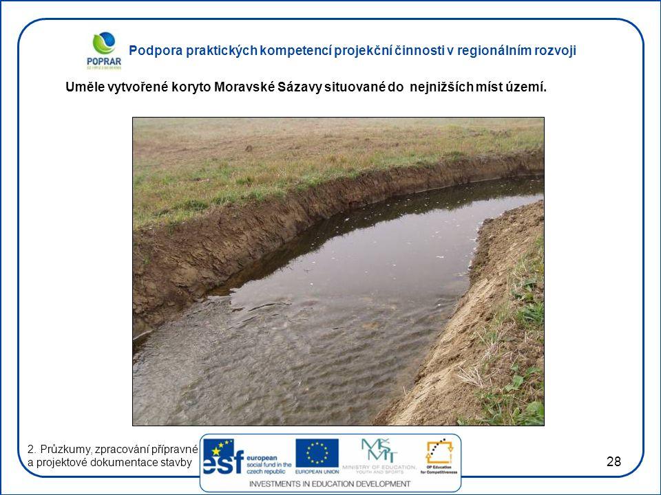 Uměle vytvořené koryto Moravské Sázavy situované do nejnižších míst území.